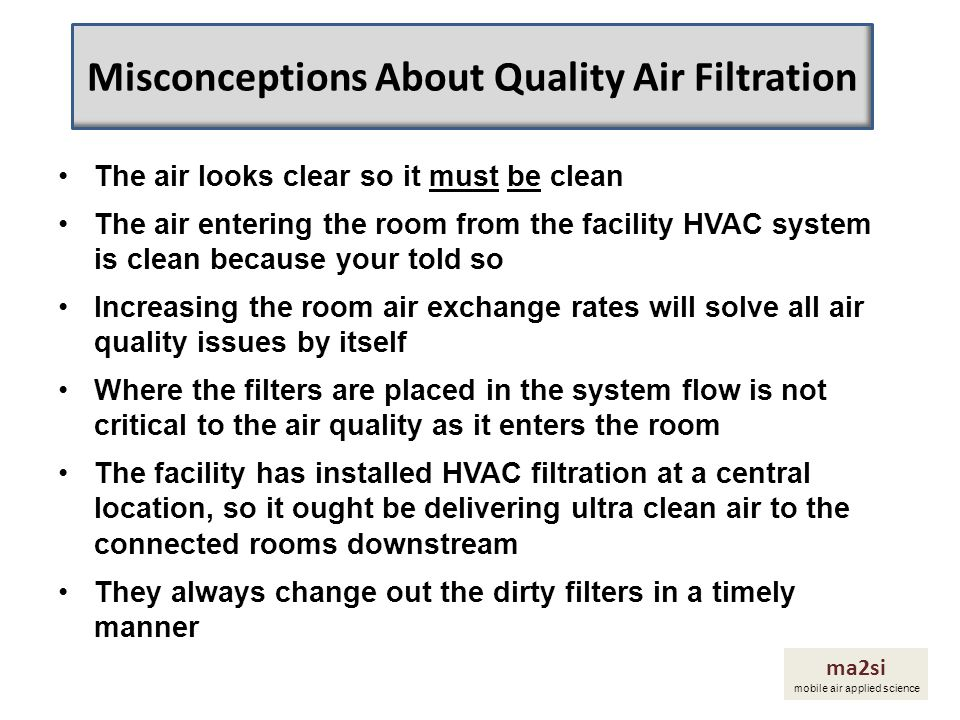 Misconceptions About Quality Air Filtration