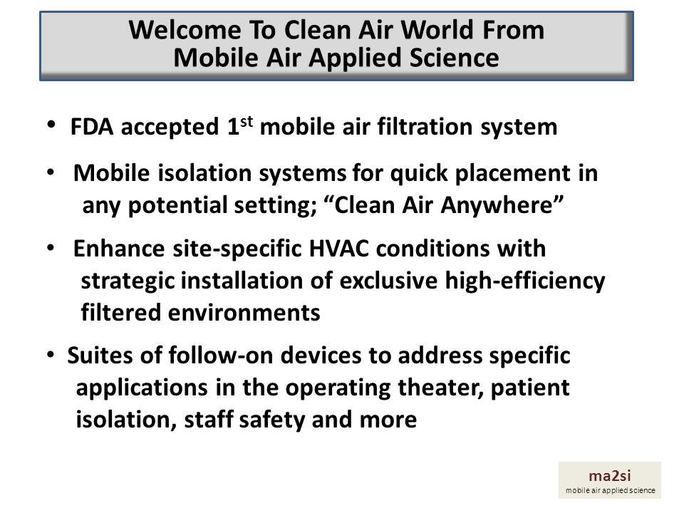 Welcome To Clean Air World From Mobile Air Applied Science