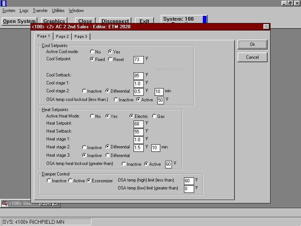 Parameters screen 1