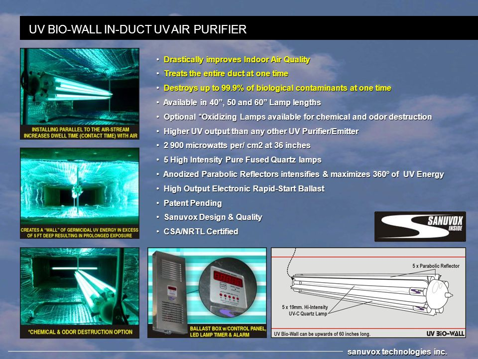 UV BIO-WALL IN-DUCT UV AIR PURIFIER