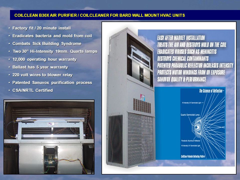 Factory fit / 20 minute install Eradicates bacteria and mold from coil