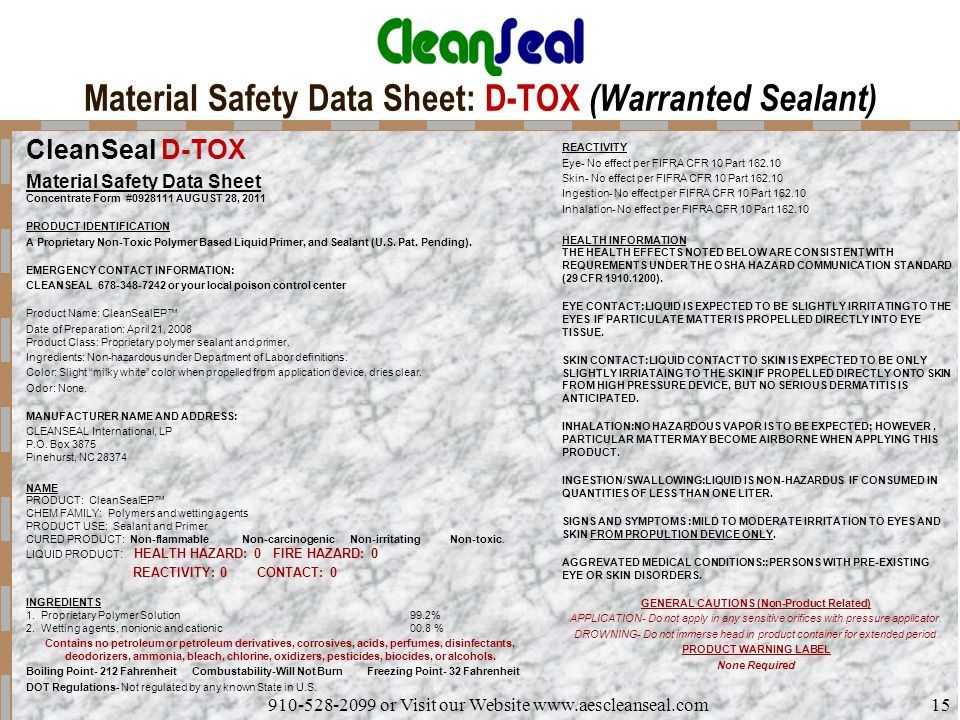 Material Safety Data Sheet: D-TOX (Warranted Sealant)