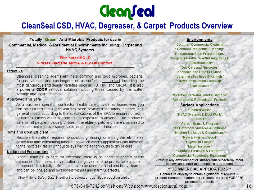 CleanSeal CSD, HVAC, Degreaser, & Carpet Products Overview