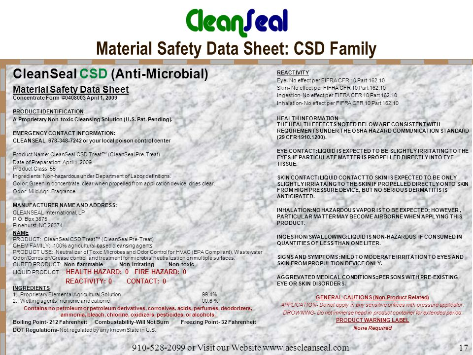 Material Safety Data Sheet: CSD Family