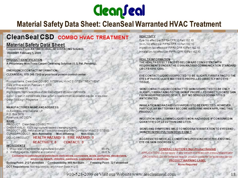 Material Safety Data Sheet: CleanSeal Warranted HVAC Treatment