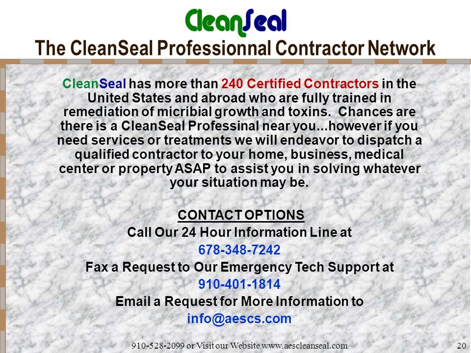 The CleanSeal Professionnal Contractor Network