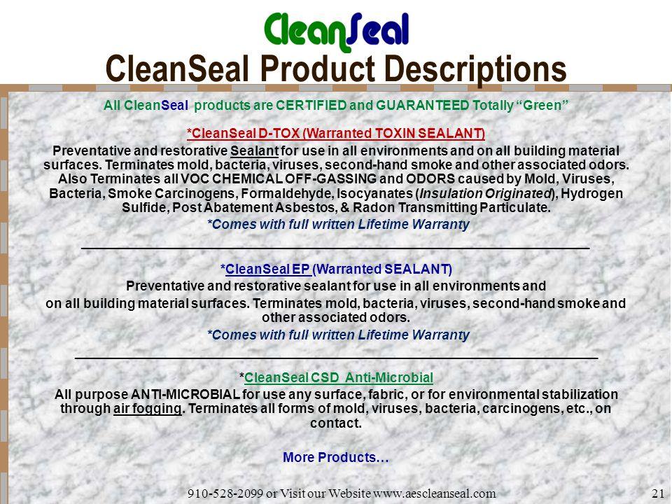 CleanSeal Product Descriptions