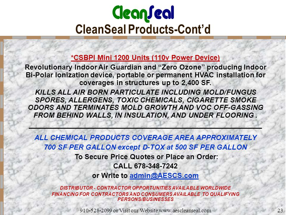 CleanSeal Products-Cont'd