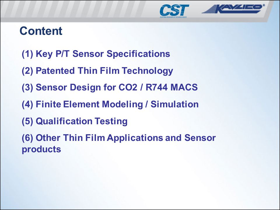 Content (1) Key P/T Sensor Specifications