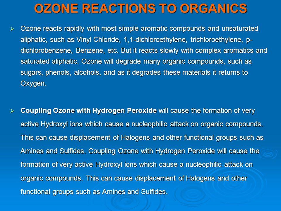 OZONE REACTIONS TO ORGANICS