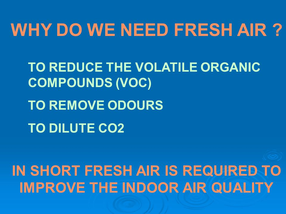 IN SHORT FRESH AIR IS REQUIRED TO IMPROVE THE INDOOR AIR QUALITY