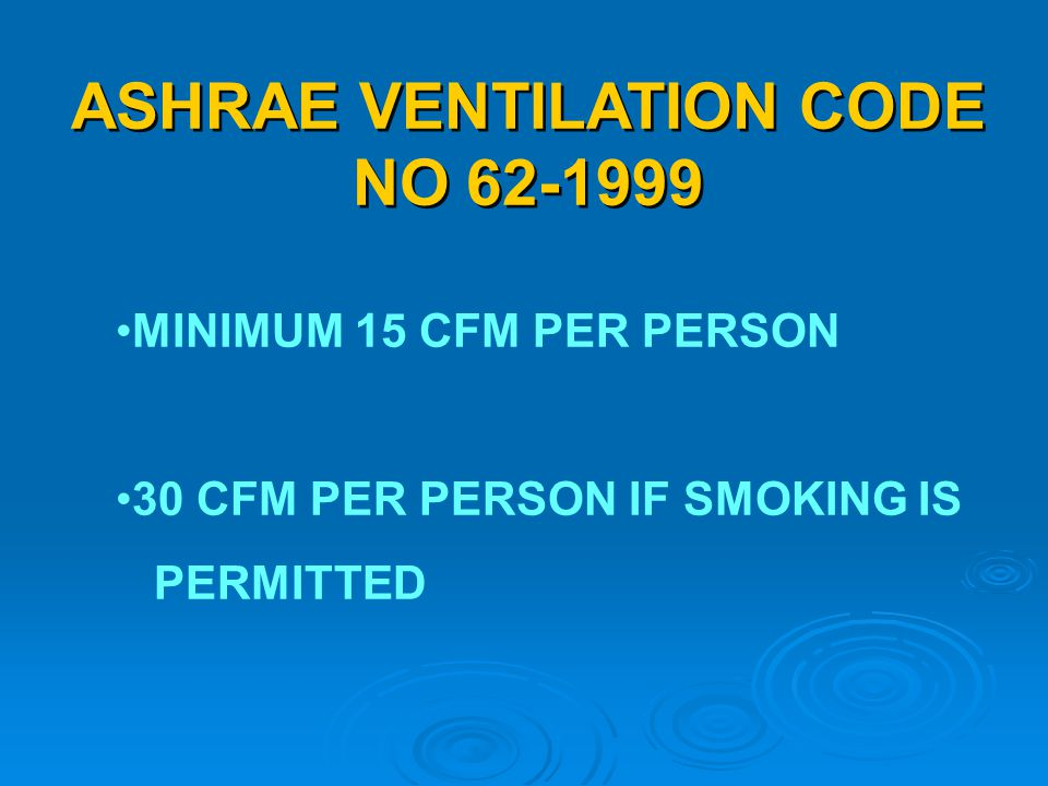 ASHRAE VENTILATION CODE NO 62-1999