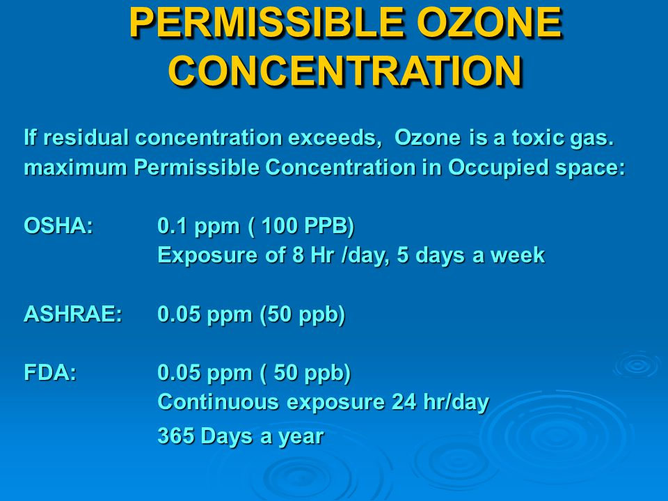 PERMISSIBLE OZONE CONCENTRATION