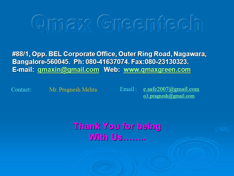 Qmax Greentech Thank You for being With Us……..