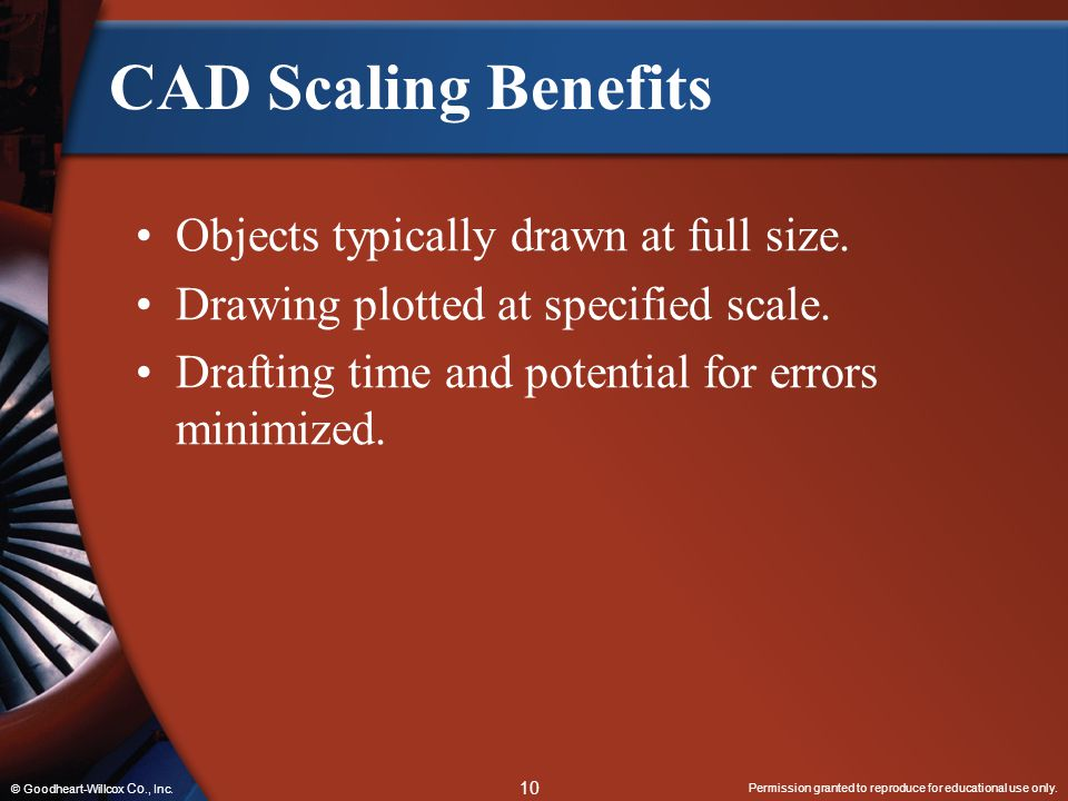 CAD Scaling Benefits Objects typically drawn at full size.