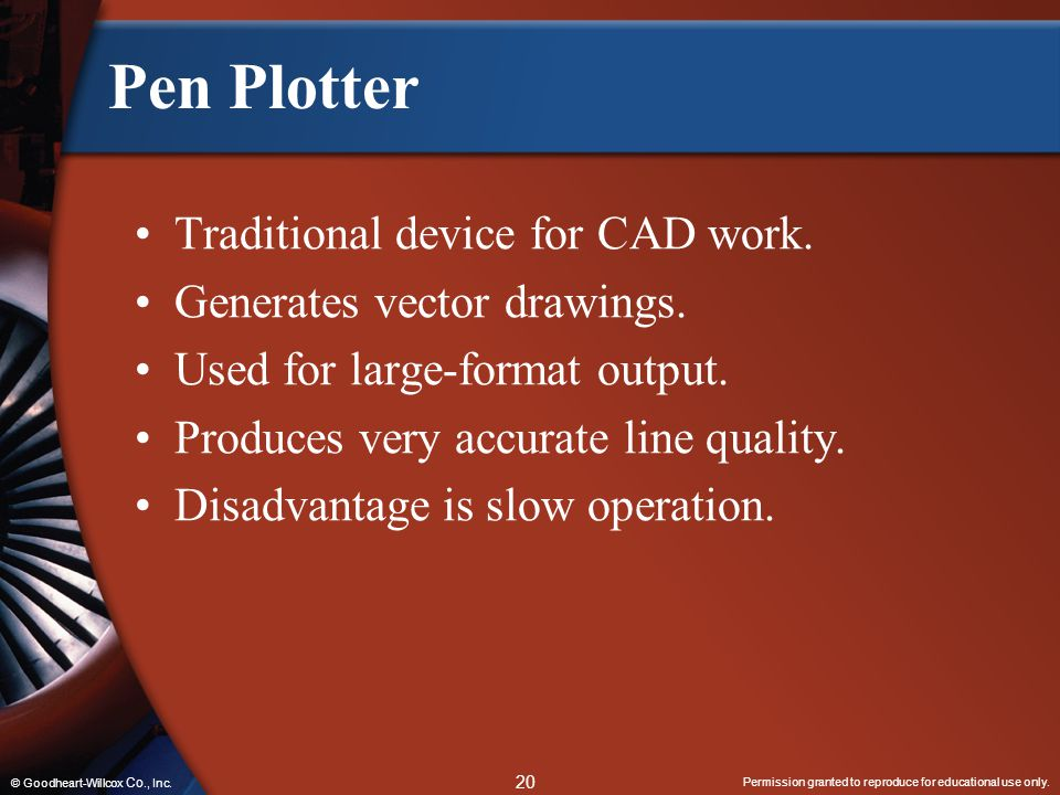 Pen Plotter Traditional device for CAD work.