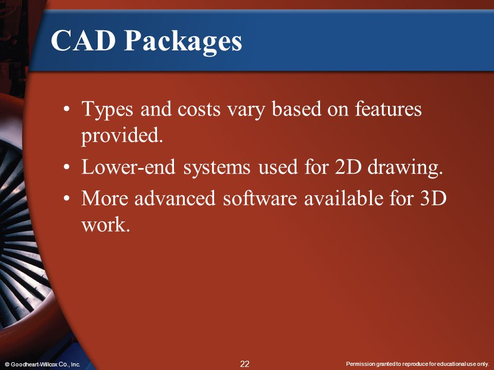 CAD Packages Types and costs vary based on features provided.