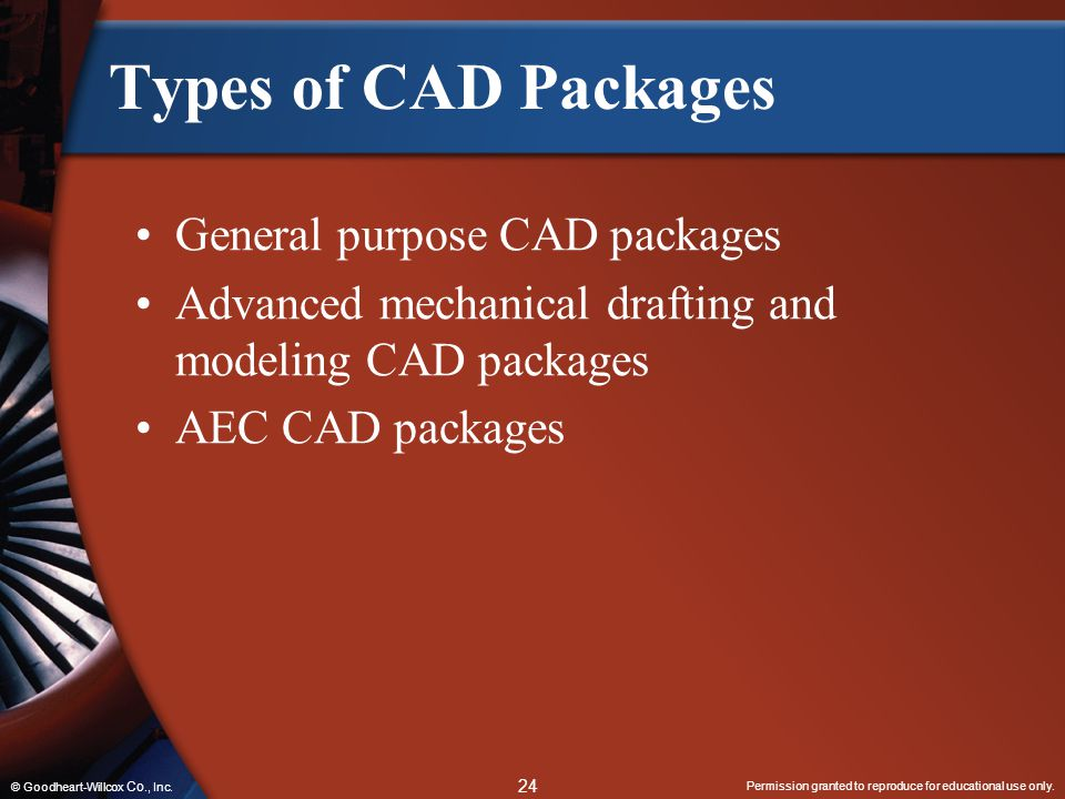 Types of CAD Packages General purpose CAD packages