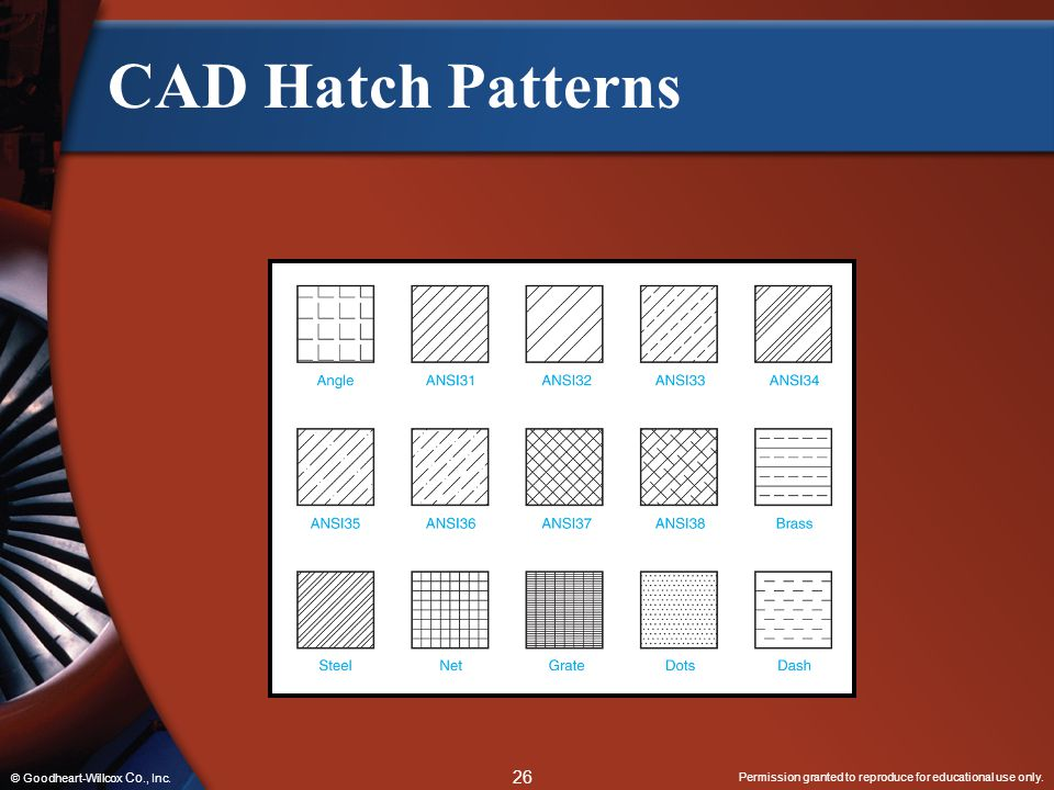 CAD Hatch Patterns © Goodheart-Willcox Co., Inc.