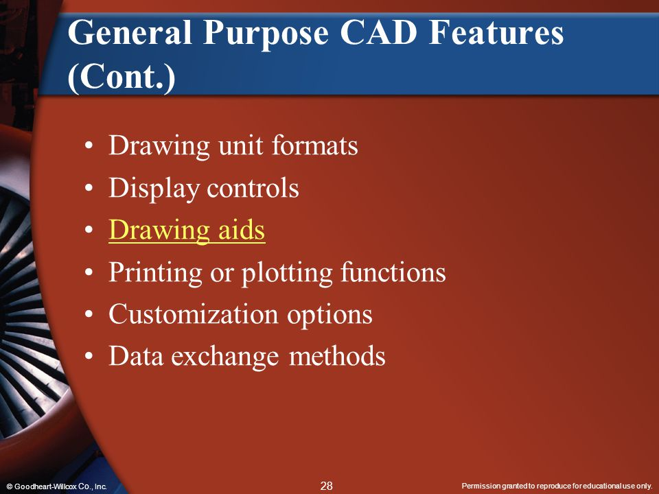 General Purpose CAD Features (Cont.)