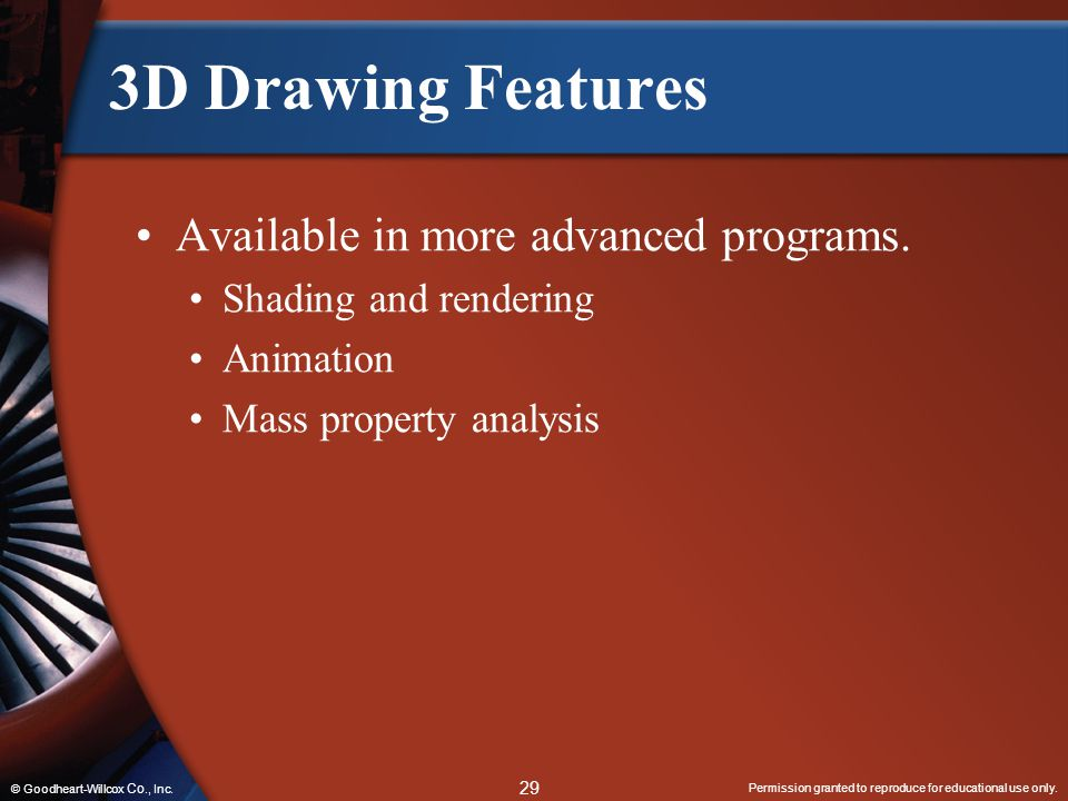 3D Drawing Features Available in more advanced programs.