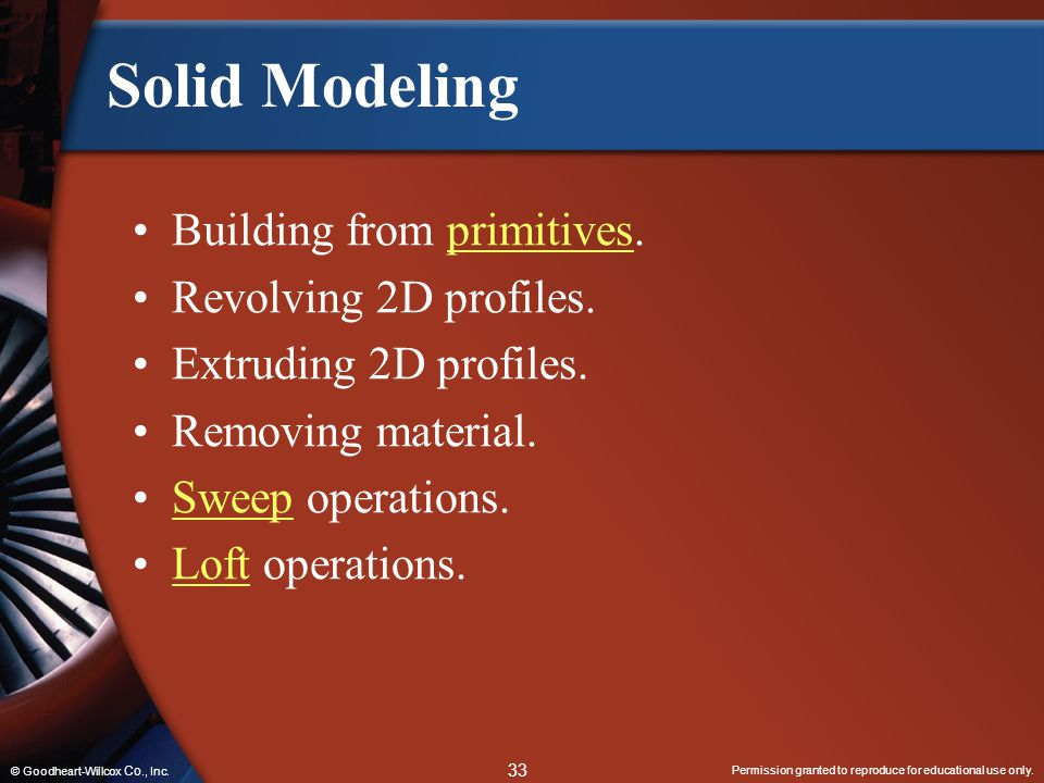 Solid Modeling Building from primitives. Revolving 2D profiles.