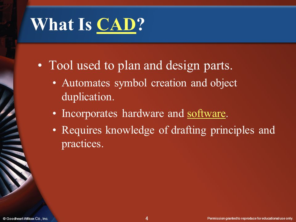What Is CAD Tool used to plan and design parts.