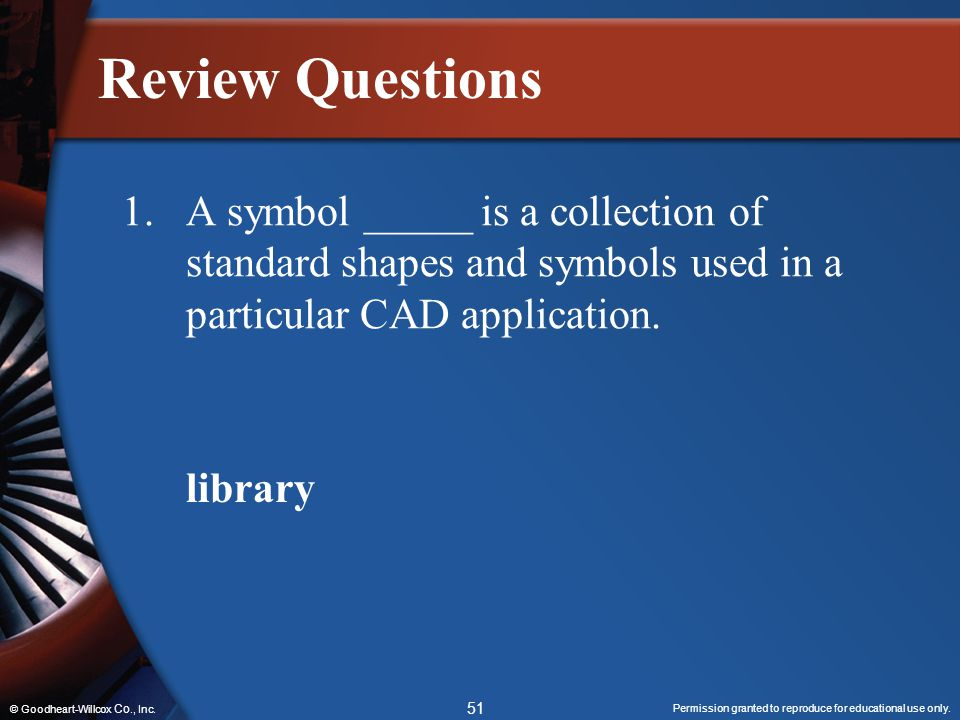 Review Questions 1. A symbol _____ is a collection of standard shapes and symbols used in a particular CAD application.