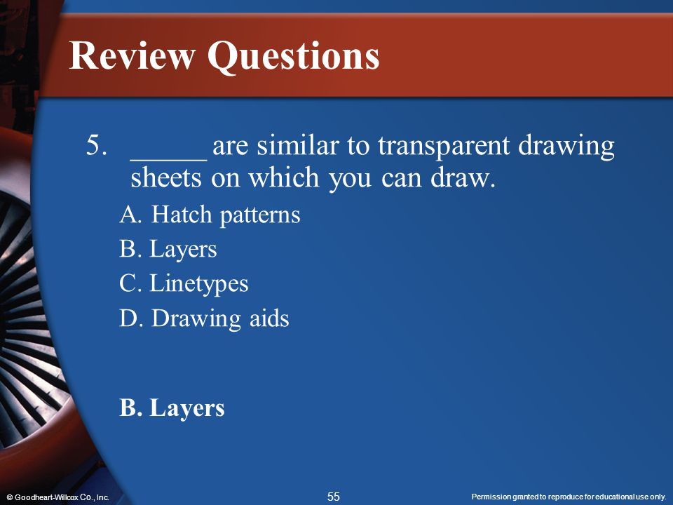 Review Questions 5. _____ are similar to transparent drawing sheets on which you can draw. A. Hatch patterns.