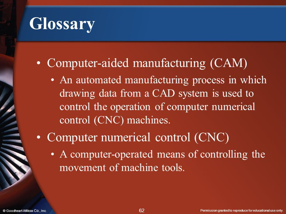 Glossary Computer-aided manufacturing (CAM)