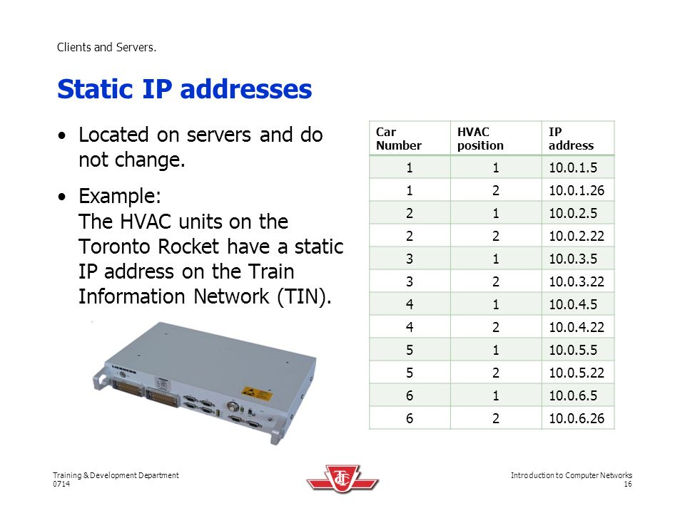 Static IP addresses Located on servers and do not change.