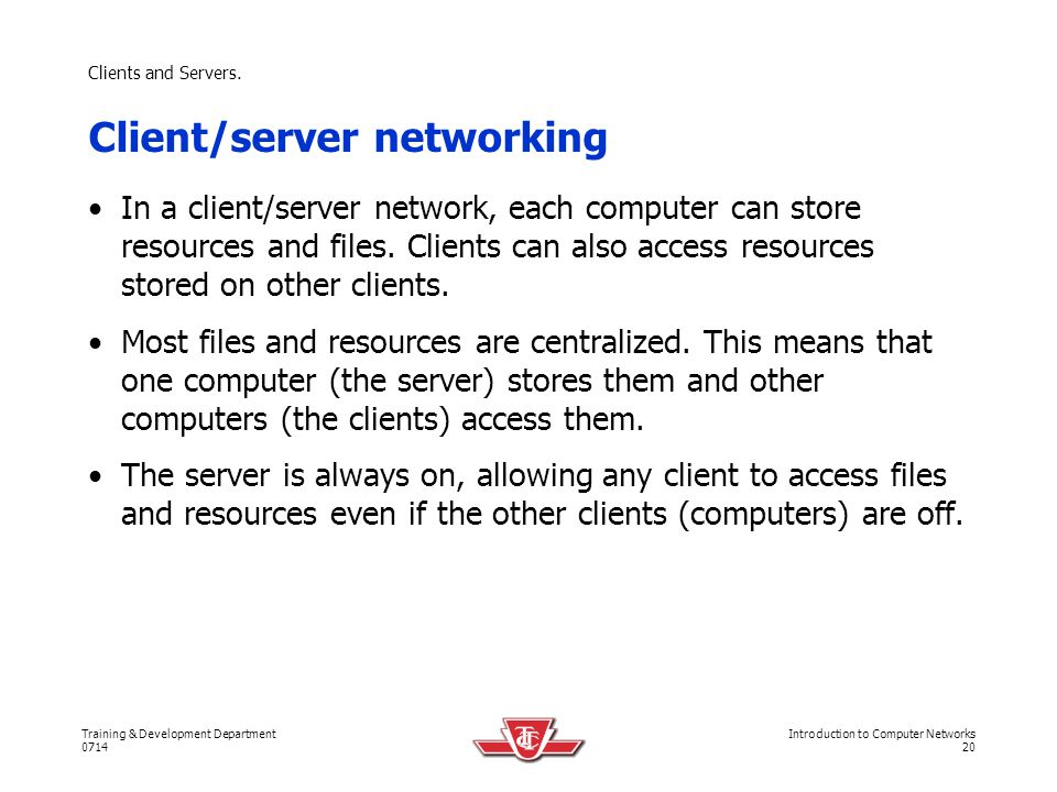 Client/server networking