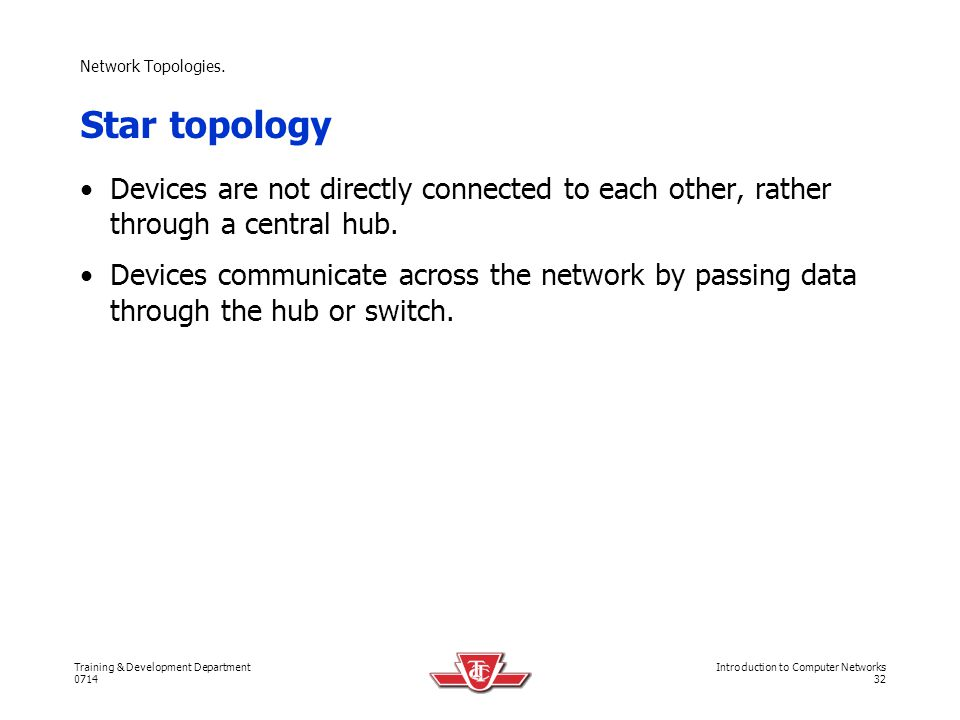 Network Topologies. Star topology. Devices are not directly connected to each other, rather through a central hub.