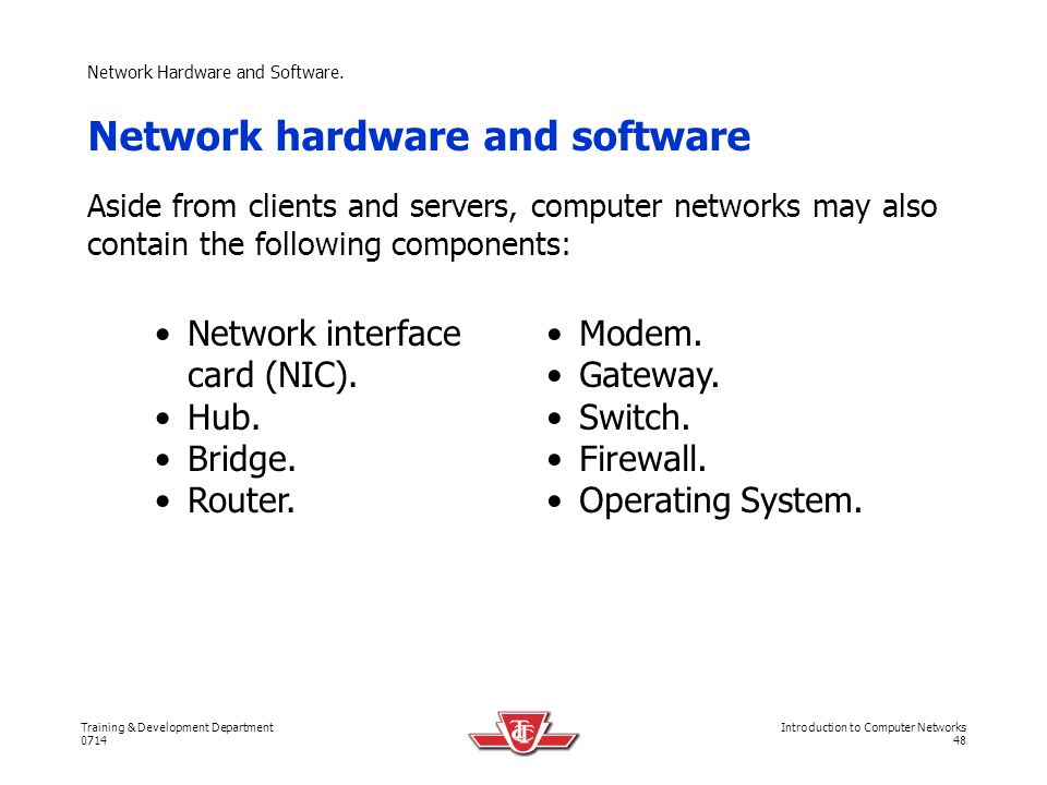 Network Hardware and Software.