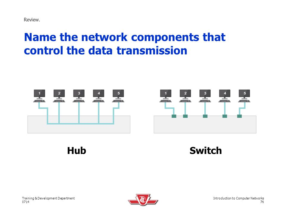 Name the network components that control the data transmission