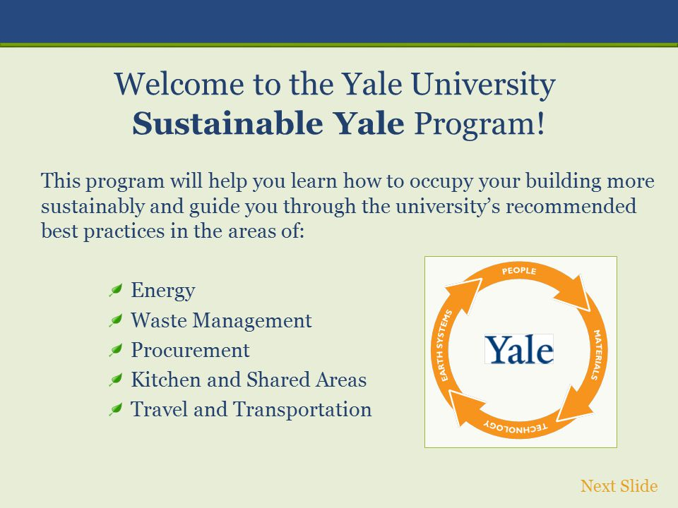 Welcome to the Yale University Sustainable Yale Program!