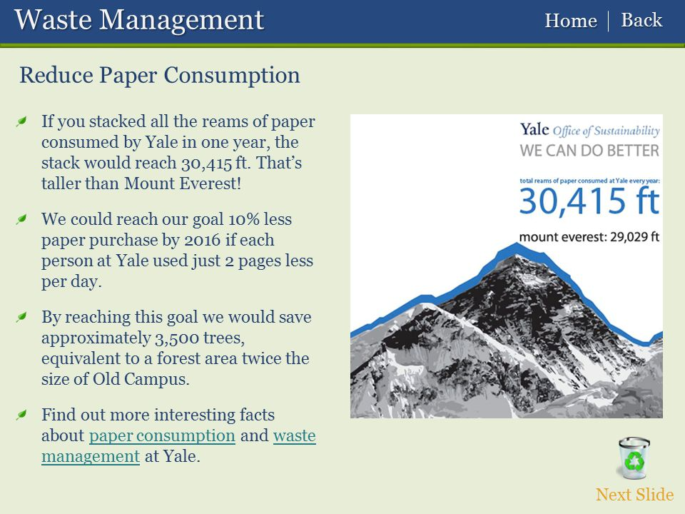 Waste Management Reduce Paper Consumption Back Home