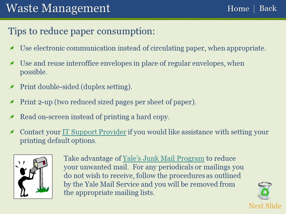 Waste Management Tips to reduce paper consumption: Back Home