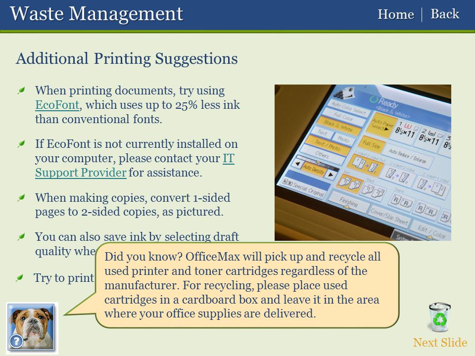 Waste Management Additional Printing Suggestions Back Home