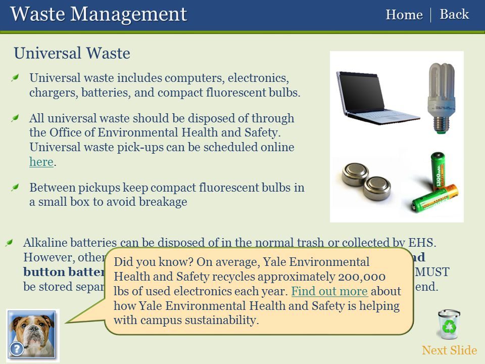 Waste Management Universal Waste Back Home