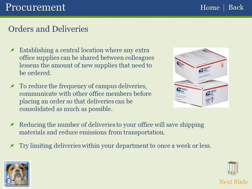 Procurement Orders and Deliveries Back Home
