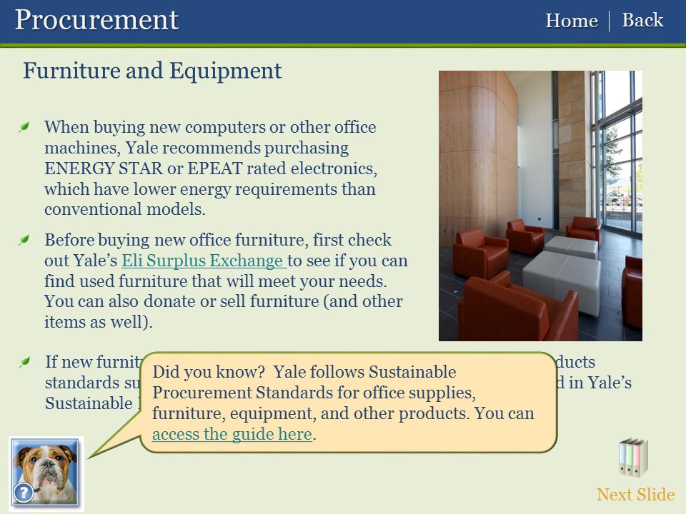 Procurement Furniture and Equipment Back Home