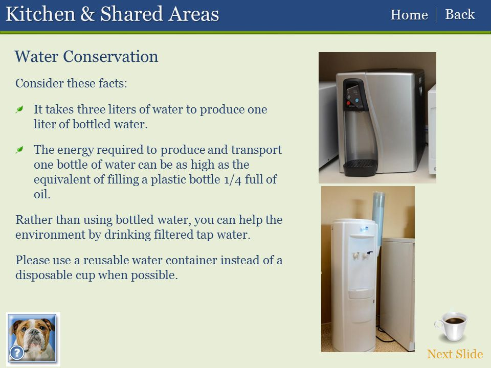 Kitchen & Shared Areas Water Conservation Back Home