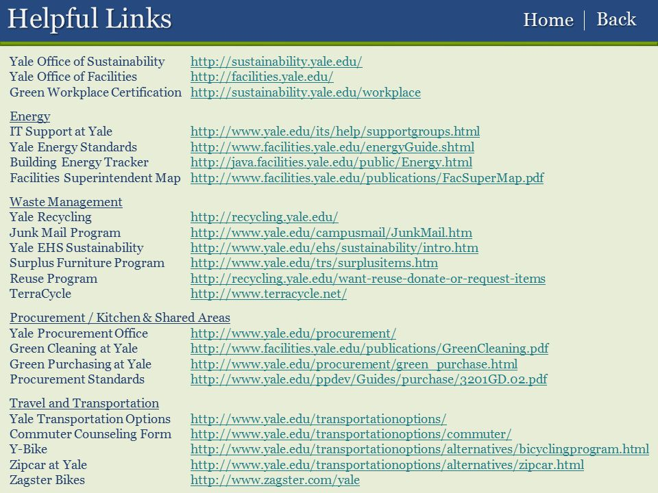 Helpful Links Back Home