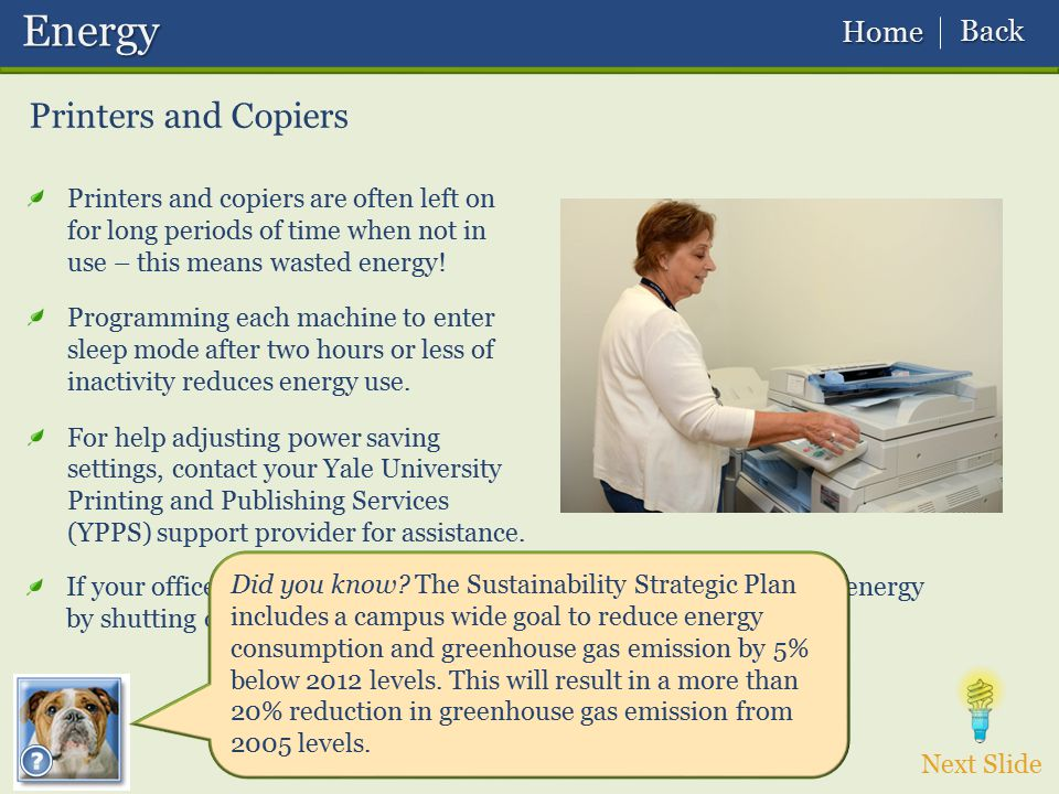 Energy Printers and Copiers Back Home