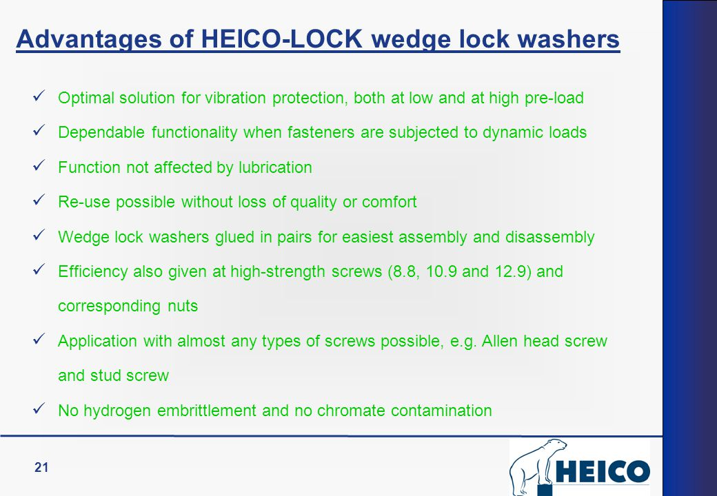 Advantages of HEICO-LOCK wedge lock washers