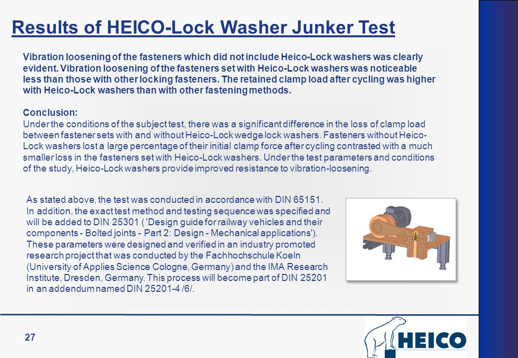 Results of HEICO-Lock Washer Junker Test
