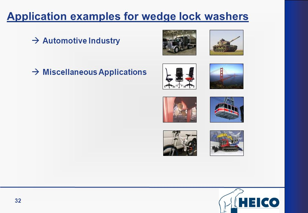 Application examples for wedge lock washers