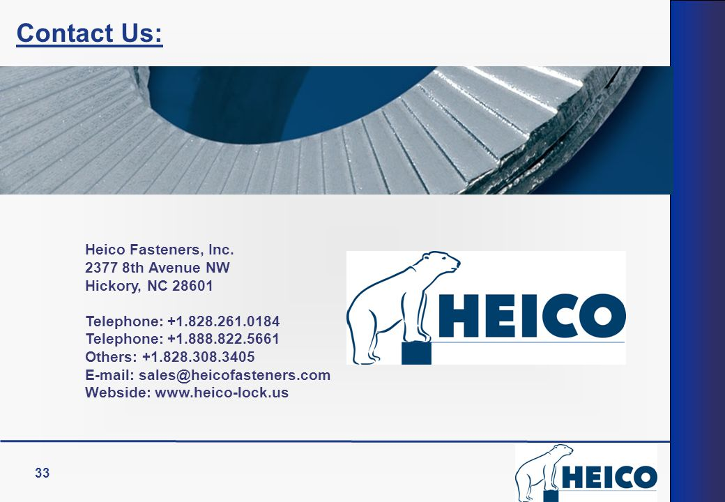 Contact Us: Heico Fasteners, Inc. 2377 8th Avenue NW Hickory, NC 28601