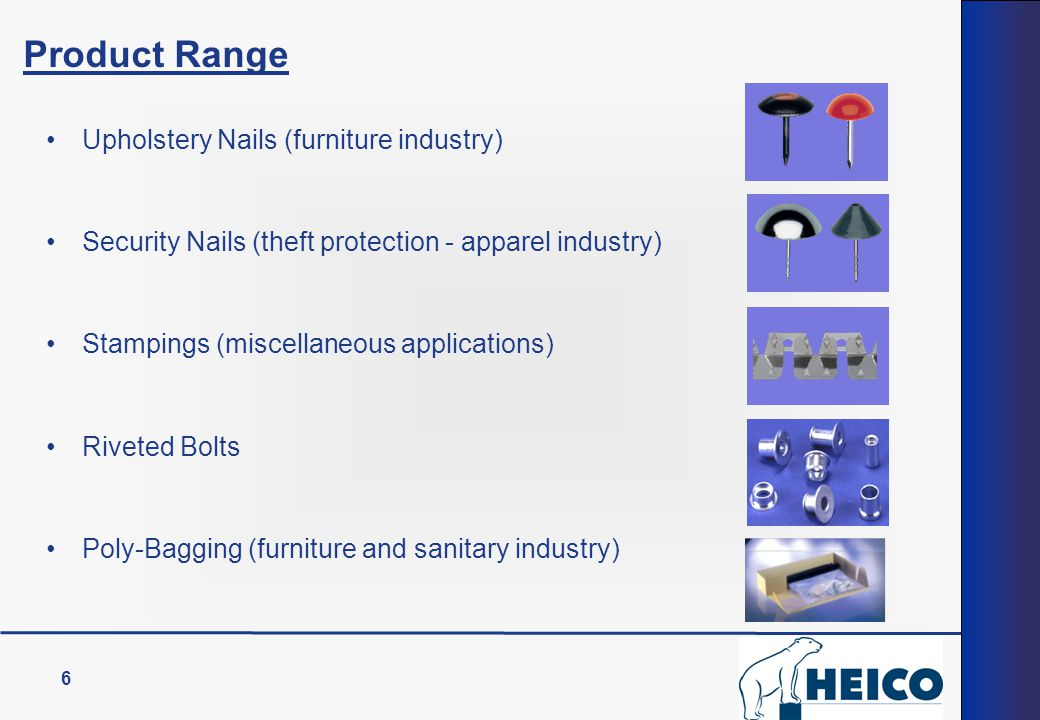 Product Range Upholstery Nails (furniture industry)